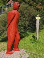 red man figure, wood carving
