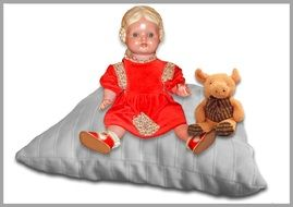 dolls on a pillow