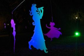 colorful illuminated shadow puppets outdoor