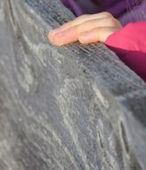 child\'s hand on a wooden plank