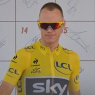 British professional road racing cyclist Christopher Froome in the yellow jersey