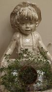 little girl figure, flowerpot, decoration