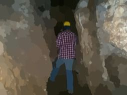 graphic image of a worker in an underground tunnel