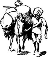 donkey load farmer man india