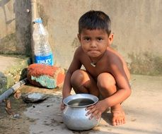 Poor child in India