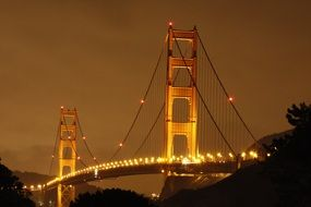 night lights of Golden Gate Bridge