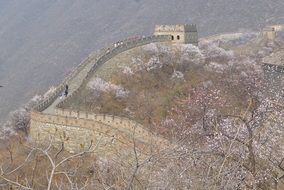 panorama of the great wall in haze