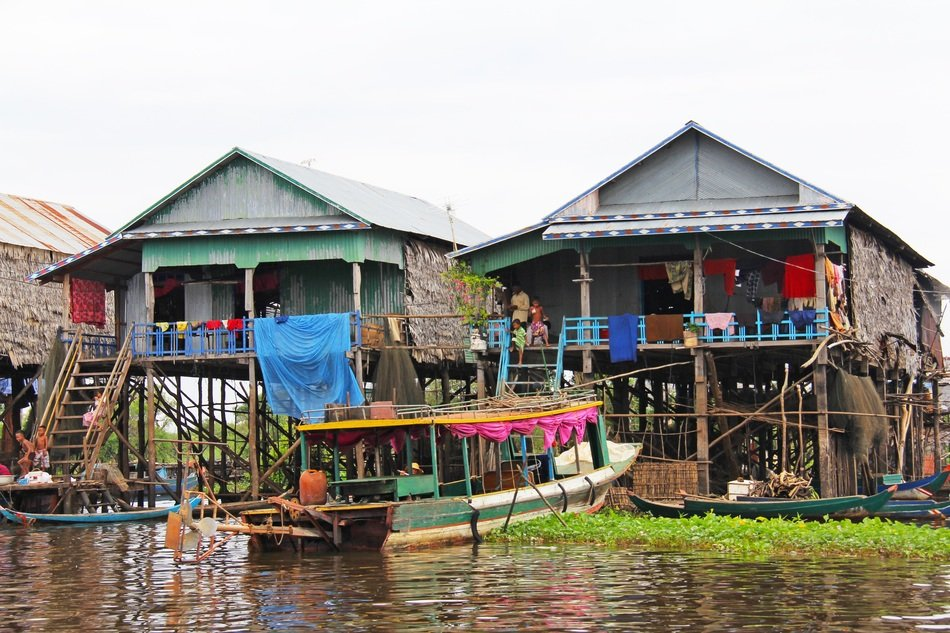 View of a floating village in Cambodia