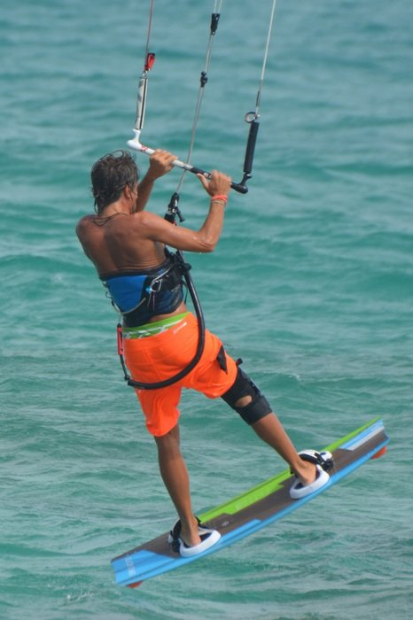 Back view of kite surfing