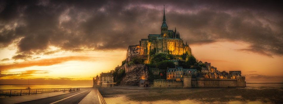 Mystery mont st michel sunset island church