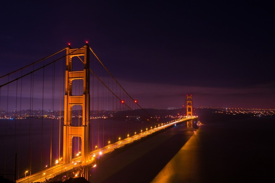 golden gate in lights san francisco