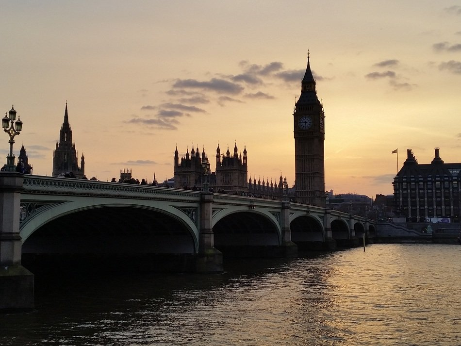 View of the Big Ben at sunset in London