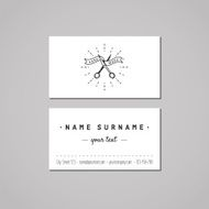 Barbershop business card design concept Logo with scissors and ribbon