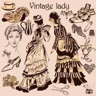 Collection of old-fashioned woman and accessories N2