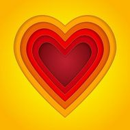Colorful red orange and yellow paper layers heart shape
