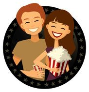 Date Couple Going to the Movies Retro Cartoon Style