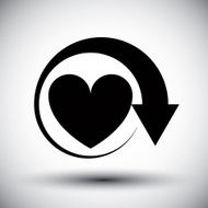 Heart conceptual vector monochrome icon with arrow