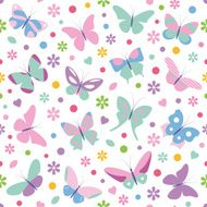 butterflies flowers hearts and dots pattern N2