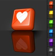 heart love 3D button design