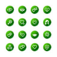 green sticker love icons