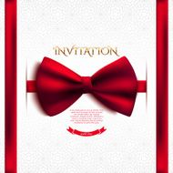 Invitation decorative card template with red bow