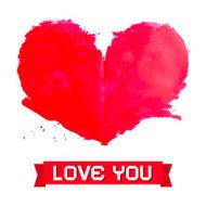 Vector Watercolor Red Heart with Love You Paper Title