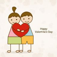 Cute kids with heart for Happy Valentine's Day N2