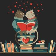 Cats in love reading a book N2
