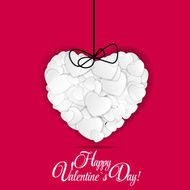 Happy Valentines Day card with heart Vector illustration N2