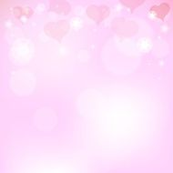 Pink background with hearts for Valentine's Day