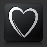 Black Square Button with Heart N2