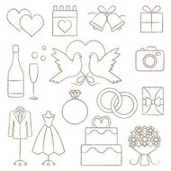 Artistic hand drawn wedding related vector icons set