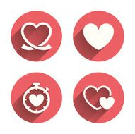 Heart ribbon icon Timer stopwatch symbol N6