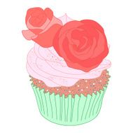 Cupcake decorated with roses