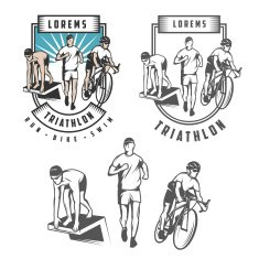Triathlon emblems and design elements