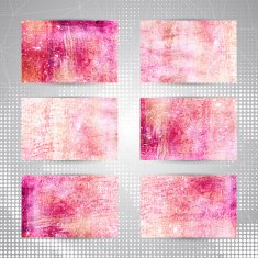 Bright pink abstract artistic business cards