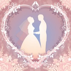 Wedding illustration Bride and Groom framed in the floral heart
