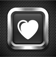 Heart on Black Square Button N2
