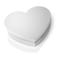 Vector realistic blank white heart shape box