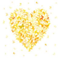 Heart - summer banner card design Colorful Yellow Orange butterfly