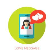 Love message flat concept Valentines day icon for mobile applications