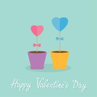 Two heart stick flowers pots Flat design Valentines day