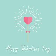 Heart stick with bow shining Flat design Valentines day