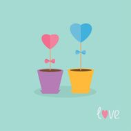 Two heart stick flowers in the pots word love Flat
