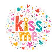 kiss me retro typography lettering decorative text design