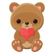 Brown teddy bear holding a heart Isolated over white
