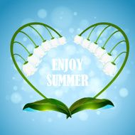 Enjoy the summer Illustration with heart shape wreath lilies