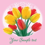 Greeting card with a bouquet of red and yellow tulips N2