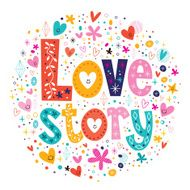words Love story retro typography lettering decorative text N2