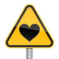 Warning triangle yellow road sign black heart pictogram white background
